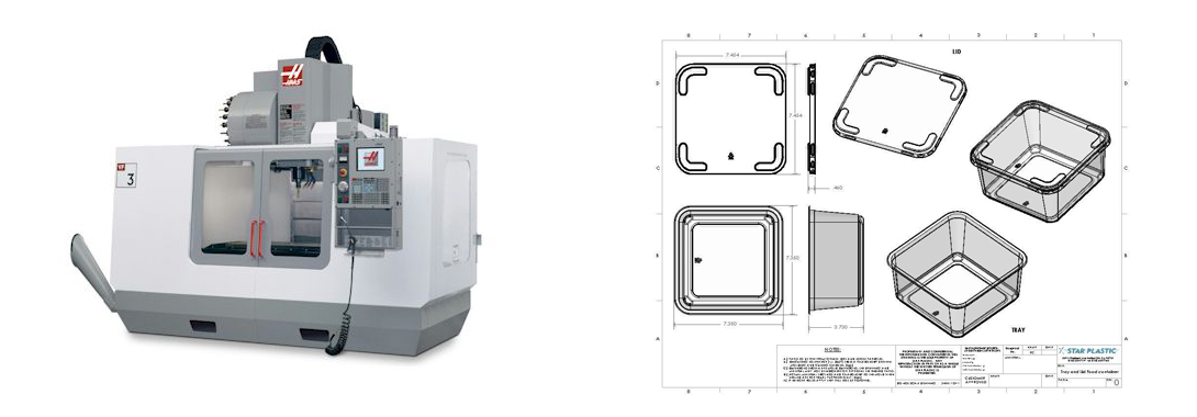 CNC milling machine, Star Plastic container packaging engineering drawing